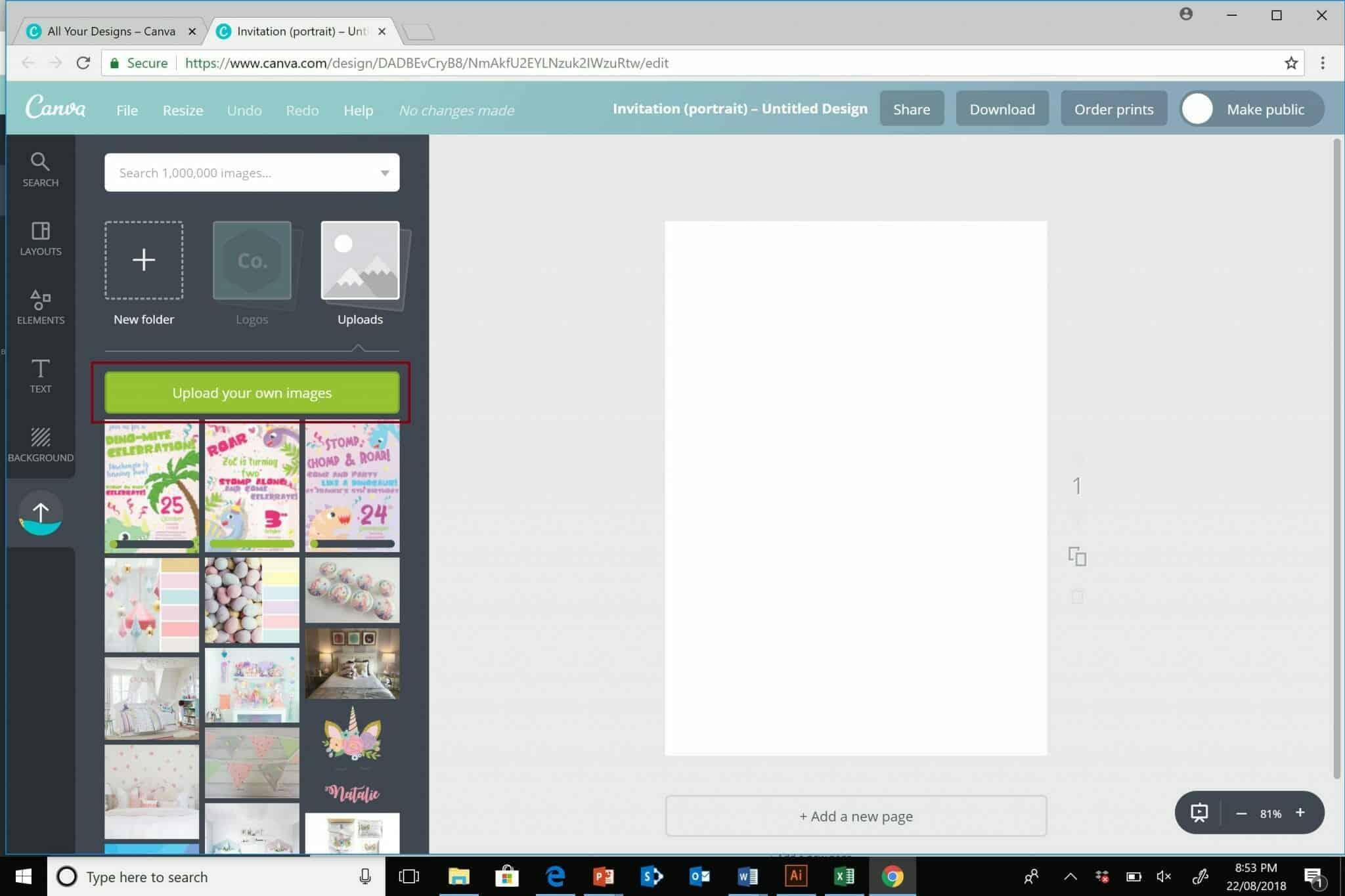 Canva upload images