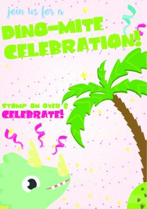Free Printable Dinosaur Birthday Invitations 1