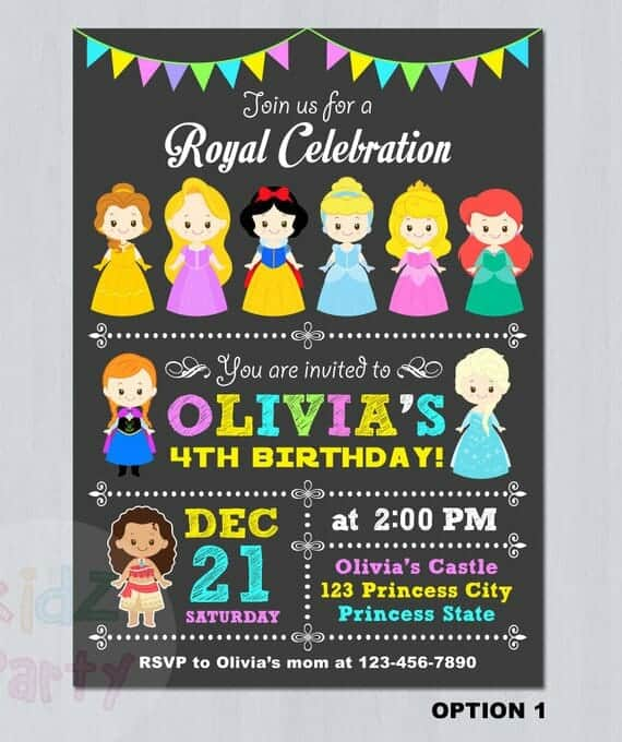 DIsney Princesses Invitation