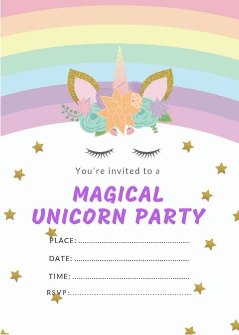 Rainbow Unicorn Invitation Template