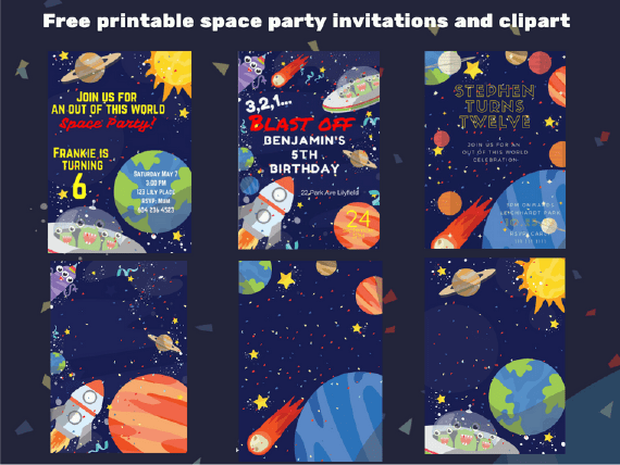 Outer Space Birthday Party Free Invitations With Unicorns