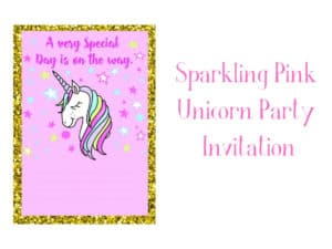 Pink Unicorn Party Invitation