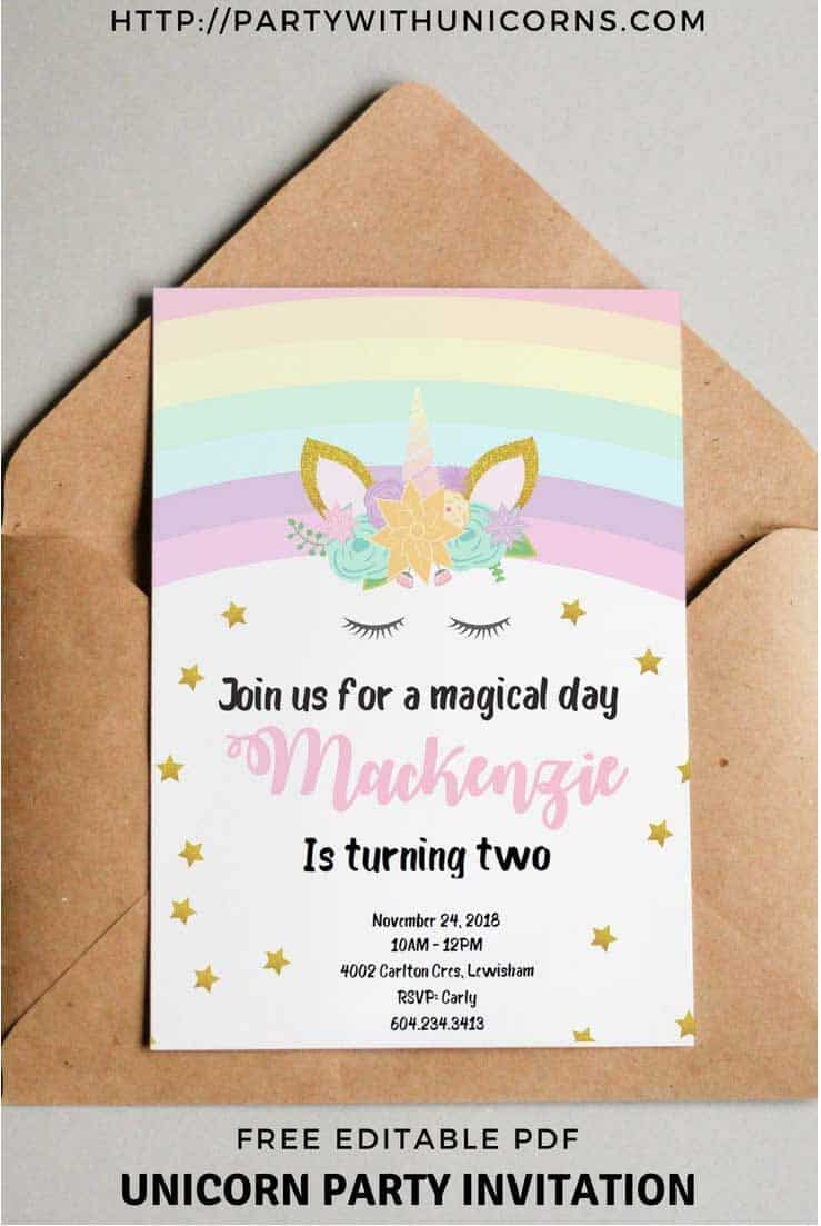 Unicorn Party Invitation Template | Party with Unicorns