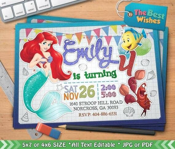 Little Mermaid Birthday party Invitation