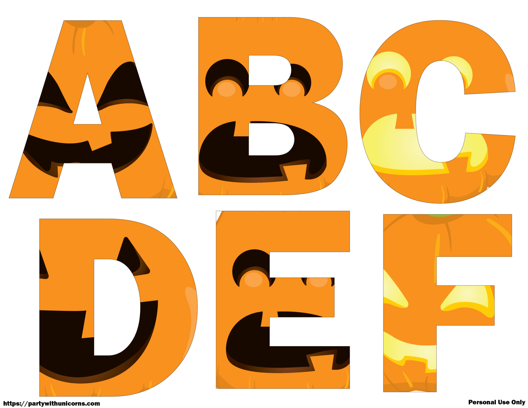 photo relating to Printable Jackolantern named Halloween Letters Printable - Jack o Lantern Faces