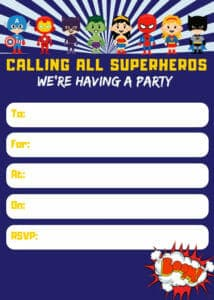 Superhero Printable Birthday Party Invitation