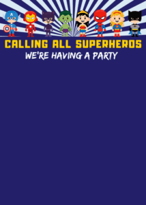 Superhero Printable Birthday Party Invitations