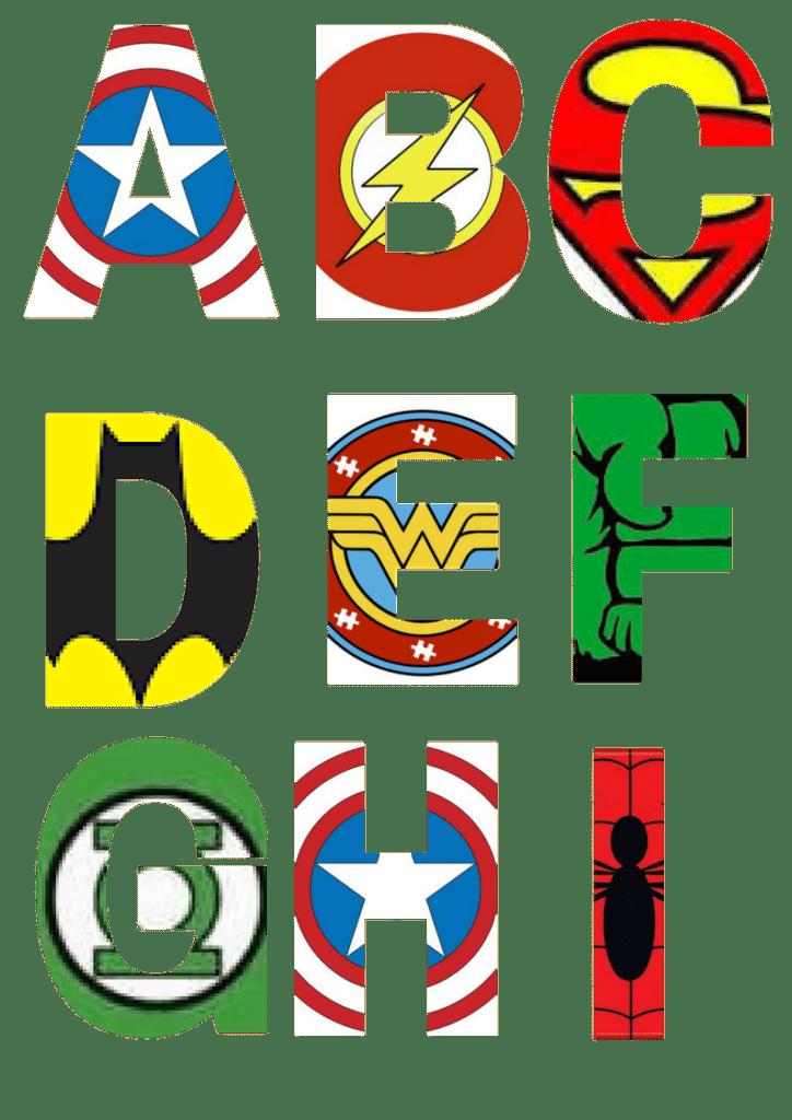 image regarding Free Printable Clip Art Letters identified as No cost Printable Superhero Alphabet Letters