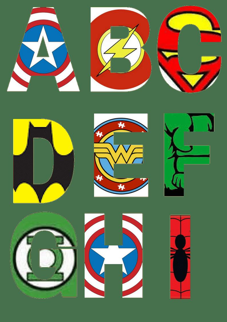 Uppercase Superhero Letters A-I