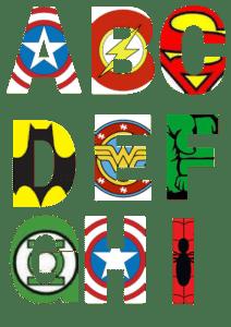 free printable superhero alphabet letters 1