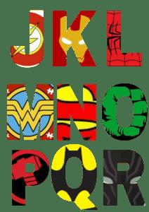 free printable superhero alphabet letters 2