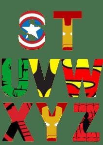 free printable superhero alphabet letters 3