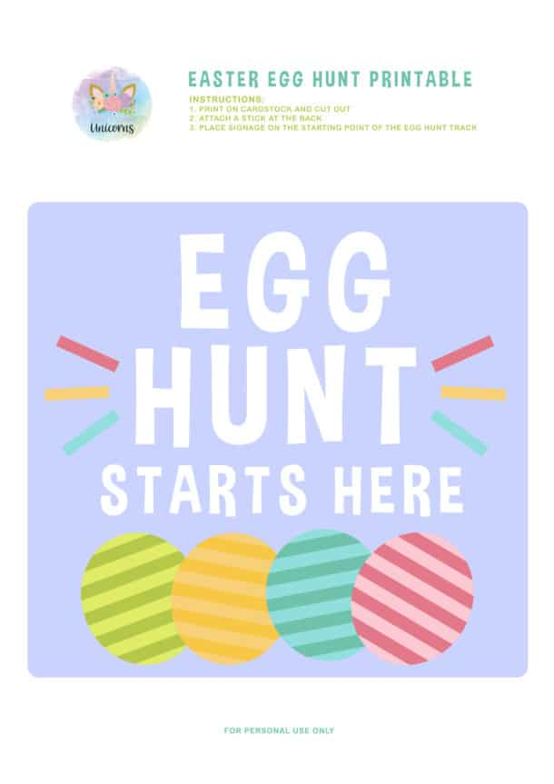 classic easter egg hunt start sign