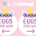 unicorn easter egg hunt this way sign