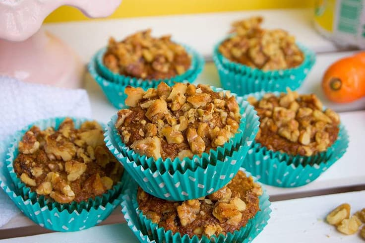 Easter Crunchy Walnut Topped Carrot Cake Muffins