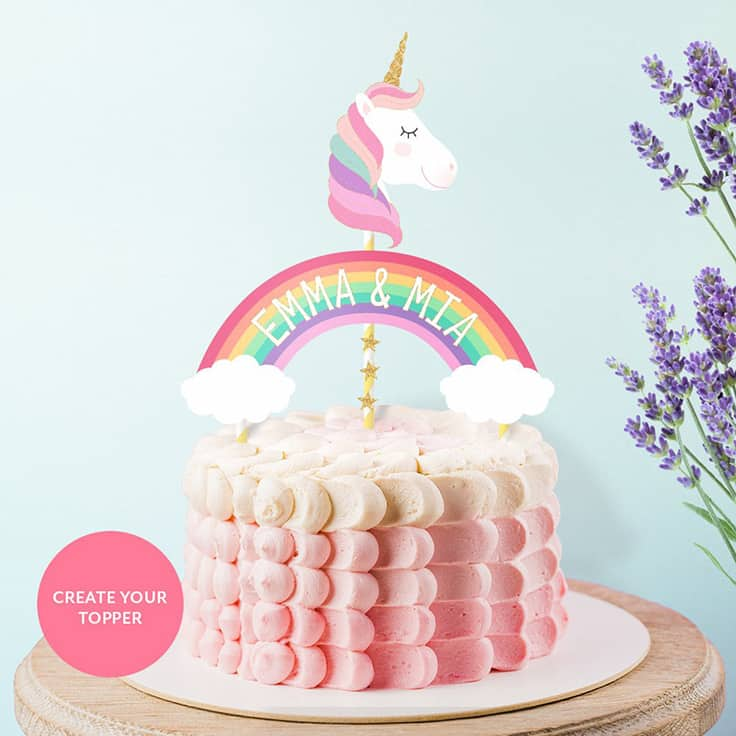 Personalized Unicorn Cake Topper Printable