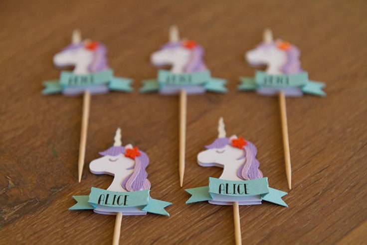Personalized Unicorn cupcake toppers