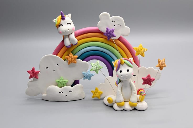 Polymer Rainbow Unicorn Cake Topper