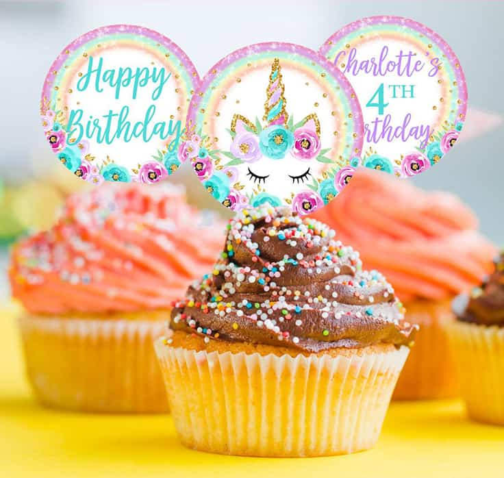 image regarding Unicorn Cupcake Toppers Printable identified as Basic Unicorn Cakes