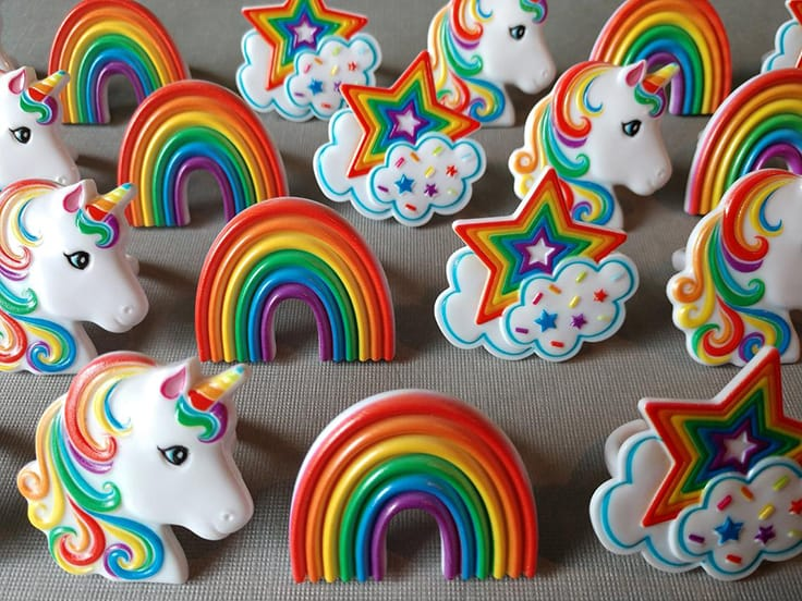Rainbow Unicorn Star cloud cupcake rings party toppers
