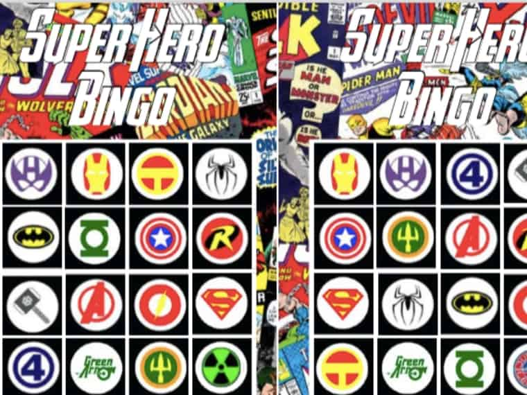 Superhero Bingo Cards