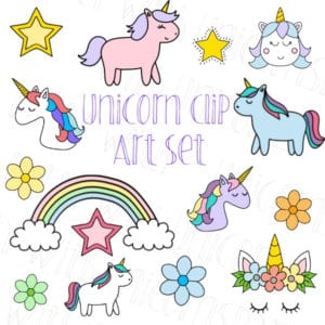Unicorn Drawings Clip Art Set