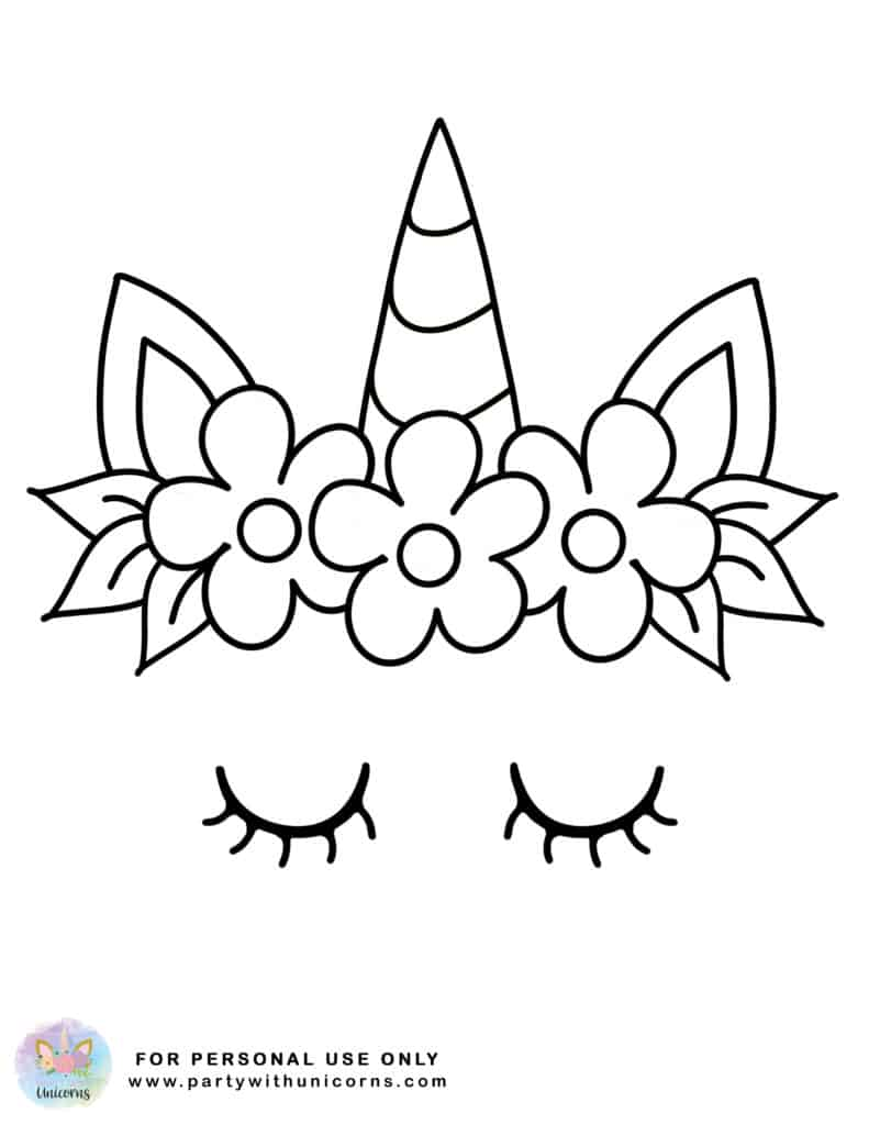 Unicorn Face Coloring sheet