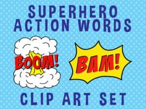 superhero action words clipart