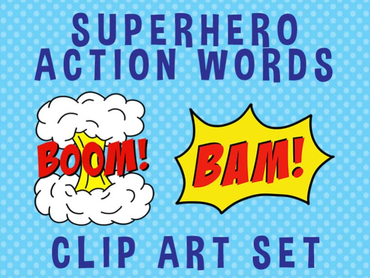 superhero action words clipart