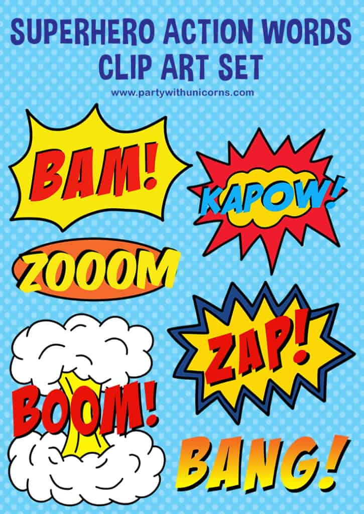 superhero action words clip art pinterest tile