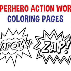 superhero action words coloring page