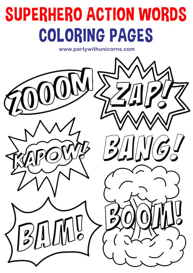 superhero action words coloring page pinterest tile