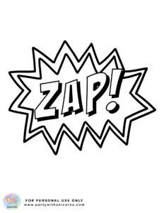 superhero action words coloring sheet 4