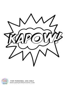 superhero action words coloring sheet 5