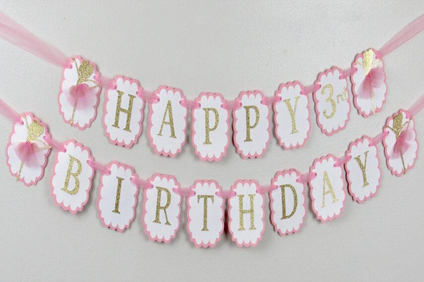 Ballerina Happy Birthday Banner