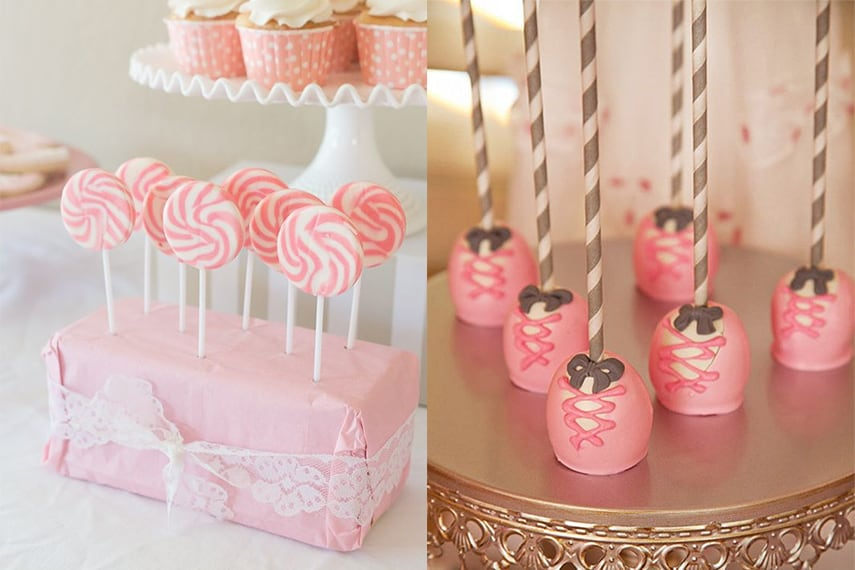 Ballerina Party Dessert Ideas - Loliipops and Cake Pops