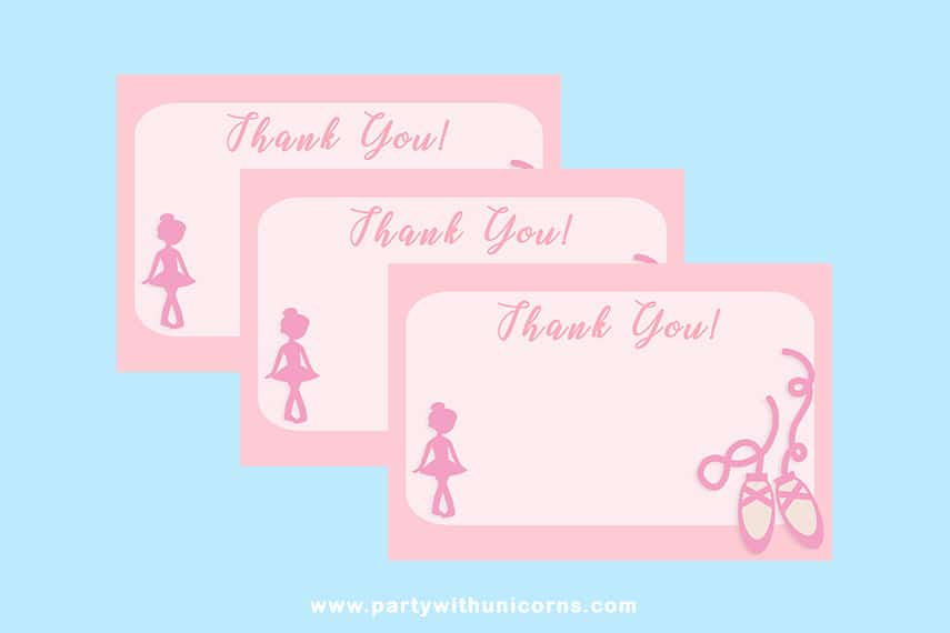 Ballerina Party Thank You Cards