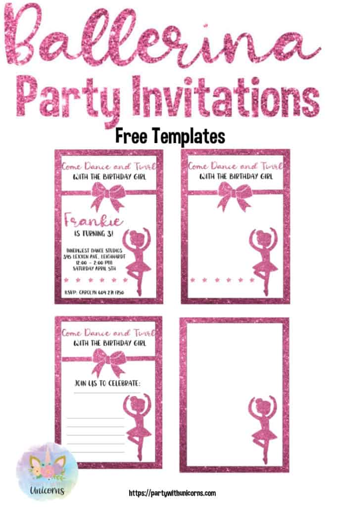 Ballerina Party Sparkling Invitations
