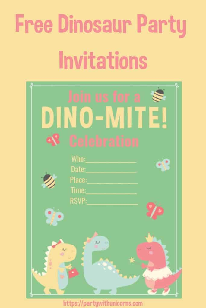 Free Girls Dinosaur Party Invitation Template