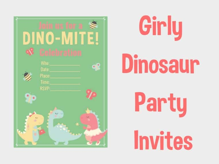Girl Dinosaur Invites
