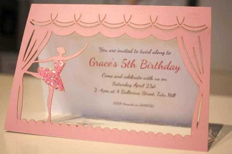 Pink Ballerina Party Invitation
