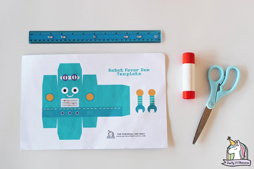 Robot Favor Box Supplies