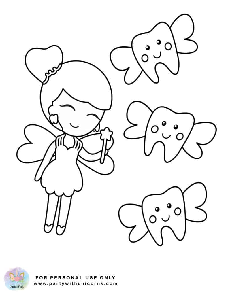 Tooth Fairy Coloring Page 4