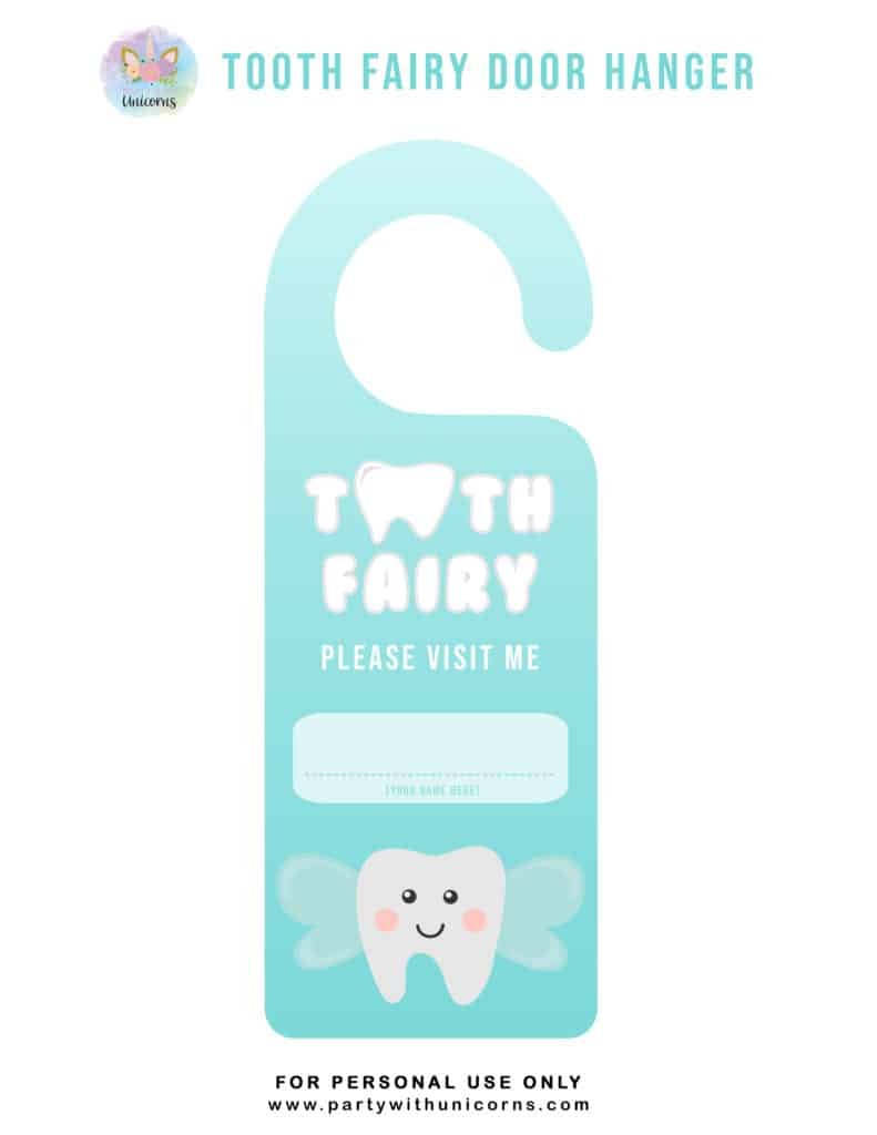 Tooth Fairy Door Sign - Blue