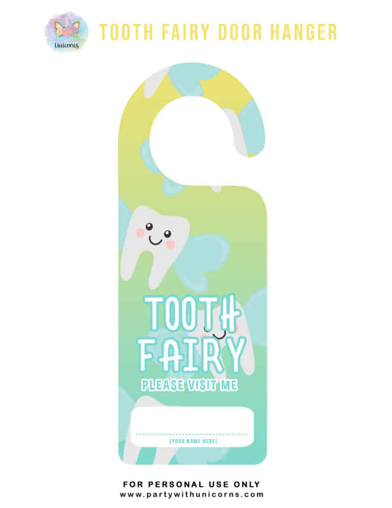 Tooth Fairy Door Sign - Yellow and Blue