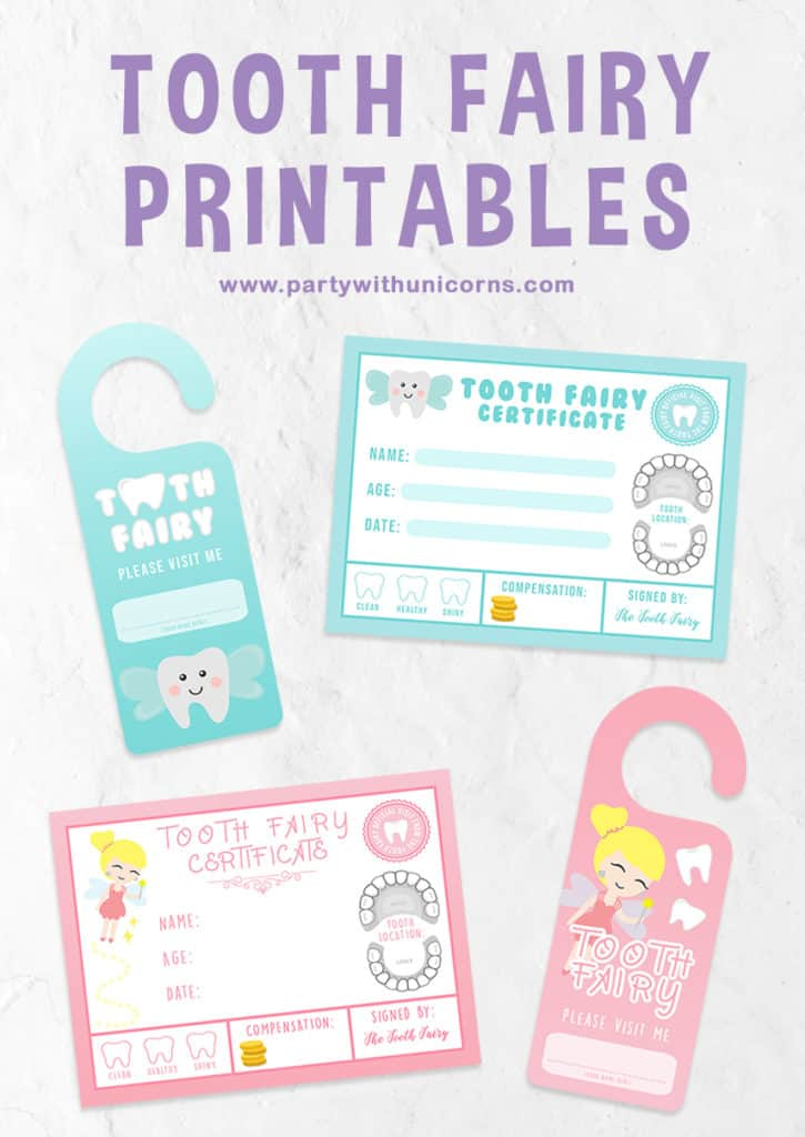 image relating to Free Printable Tooth Fairy Certificate named Teeth Fairy Free of charge Printables  Social gathering with Unicorns