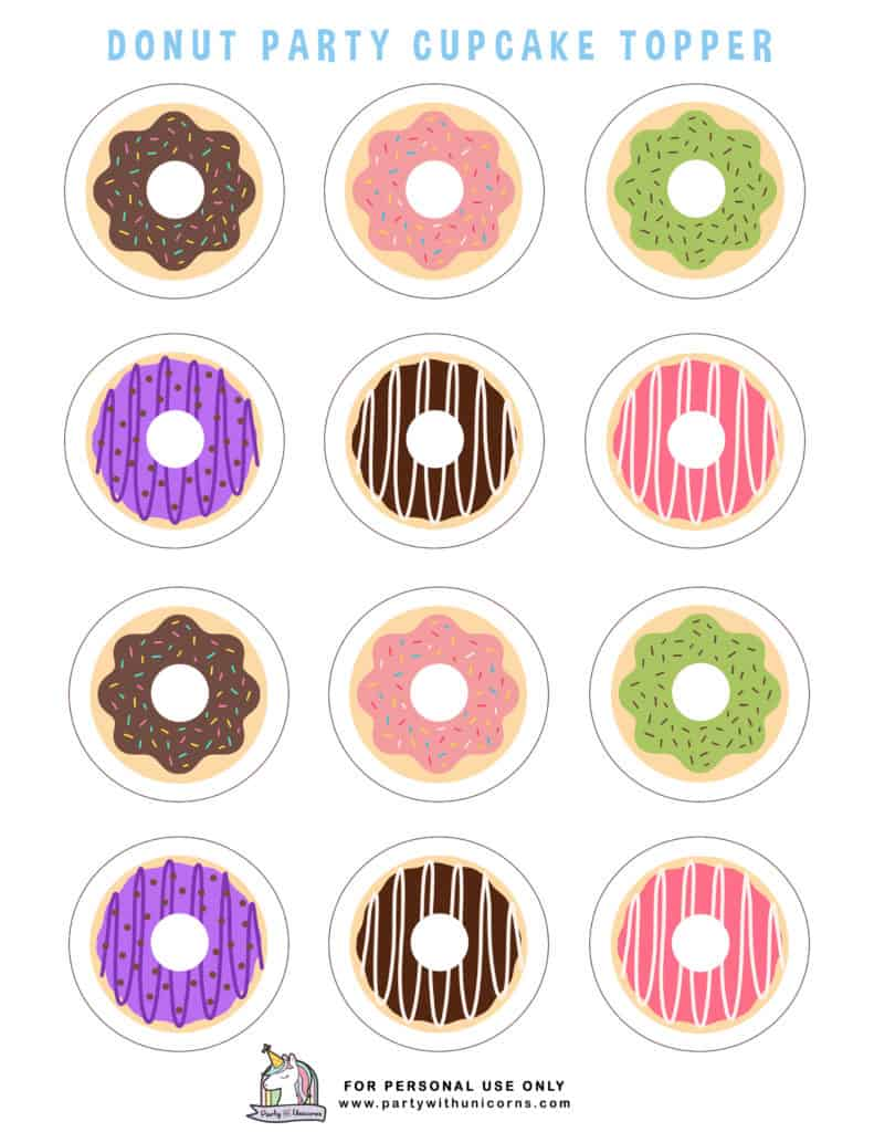 DONUT PARTY CUPCAKE TOPPER