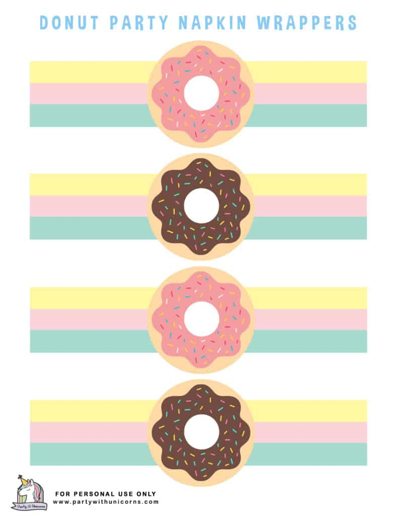 DONUT Printables NAPKIN WRAPPERS