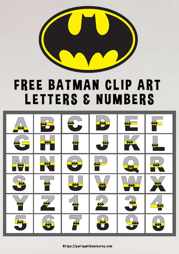 graphic regarding Free Printable Clip Art Letters named Batman Alphabet - Clip Artwork Letters Fixed