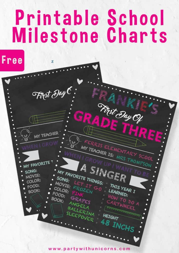 Printable School Mliestone chart